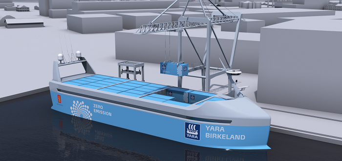 YARA and KONGSBERG enter into partnership to build world's first autonomous and zero emissions ship.