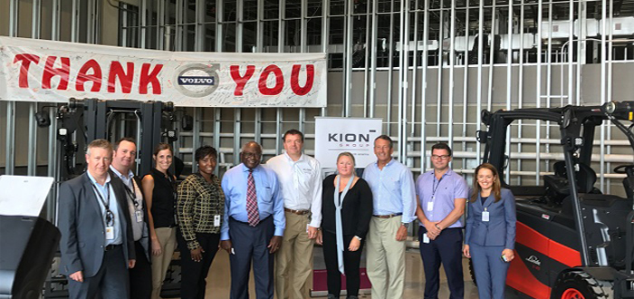 Kion supply Volvo first complete Lithium-ion fork lift fleet in automotive manufacturing in North America,