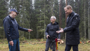 Apple's Tim Cook plants trees at Iggesund, acknowledges Holmen's climate-smart efforts.