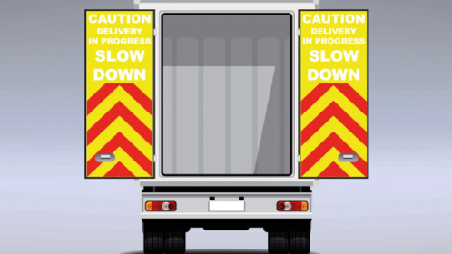 LLUMINATED VEHICLE SAFETY SIGNAGE TO PROVIDE INCREASED ROADSIDE PROTECTION FOR DELIVERY PROFESSIONALS
